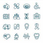 Flat Line Medical Icons Set