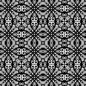 Geometric Abstract Seamless Vector Pattern with Black and White Colors