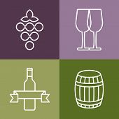 Set Of Line Icons Set. Wine Bottle, Grape And Glass Vector Logo Design. Concept For Bar Menu, Party,
