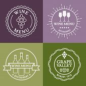 Set Of Wine Signs, Badges And Labels. Vector Line Illustration. Concept For Bar Menu, Party, Alcohol