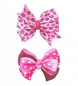 Watercolor pink vector bows.