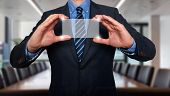 Touch screen concept - businessman - Stock Image
