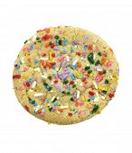 Cookie With Colorful Sprinkles Isolated On White Background