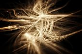 Abstract Fractal Texture that looks like golden 3D strings. Visualization Of Complex Equations.