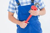 Cropped image of young male repairman holding adjustable pliers on white background