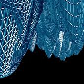 Abstract 3D Blue Net Cloth Background Isolated On Black