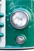 Old Car Headlight. Retro Style. Green. Classic.