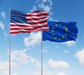 Flags Of Usa And European Union
