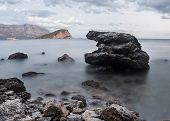 Montenegro, View From The Beach Of Budva On The Island Of St Nicholas
