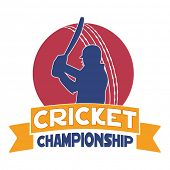 Cricket Championship concept with batsman in playing action and red ball on white background.