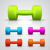 Set of color dumbbell. Vector