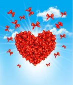 Valentine's heart made of red bows. Vector illustration.