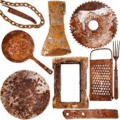 Collection Of Vintage Rusty Iron Items