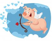 Cupid Pig Vector Cartoon