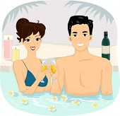 Illustration of a Couple Making a Wine Toast at a Spa