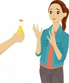 Illustration of a Teenage Girl Refusing the Bottle of Beer Being Offered to Her