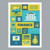 Finance - mosaic poster with icons in flat design style. Vector icons set.