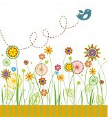 Greeting card with flowers and green grass on white background