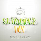 3D text St. Patrick's Day on grey background, can be used as greeting or invitation card design.