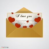 Envelop with letter and hearts.