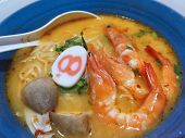 Closed Up Spicy Ramen With Shrimp And Mushroom