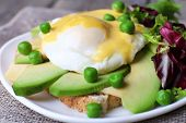 picture of benediction  - Toast with egg Benedict and avocado on plate on table close up - JPG