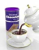 Package of chocolate and teapot pouring fresh choco to the cup
