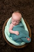 Sleeping Newborn In A Bowl
