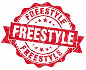 Freestyle Red Grunge Seal Isolated On White