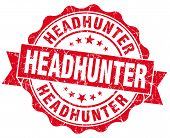Headhunter Red Grunge Seal Isolated On White