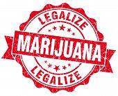 Legalize Marijuana Red Grunge Seal Isolated On White