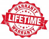 Lifetime Warranty Red Grunge Seal Isolated On White