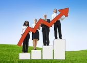 Group Business People Holding Red Arrow Sign Field Concept