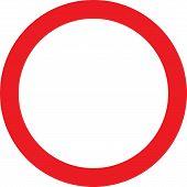 Blank red circle NO road sign