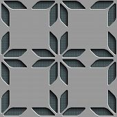 Seamless Star and Square Pattern. Vector Gray Background.