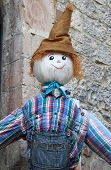 stock photo of scarecrow  - A funny and smiling scarecrow with a straw hat  - JPG