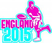 Rugby Player Passing Ball England 2015 Retro