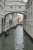 Gondolas Boating By The Bridge Of Sighs