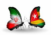 Two Butterflies With Flags On Wings As Symbol Of Relations Iran And Togo