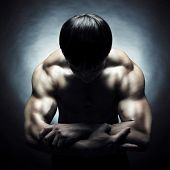picture of muscle man  - Poto of naked athlete with strong body - JPG