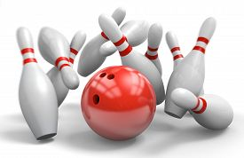 picture of tens  - Bowling pins falling down from a strike in ten - JPG
