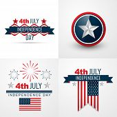 picture of uniqueness  - vector set of 4th july american independence day background - JPG
