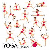 Постер, плакат: Vector Yoga Illustration Set Women Sketch Asana Girl Healthy Lifestyle
