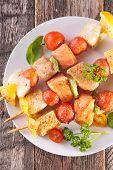 image of kebab  - grilled fish kebab - JPG
