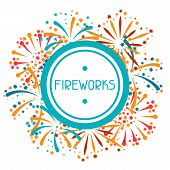 stock photo of salute  - Background design with abstract fireworks and salute - JPG