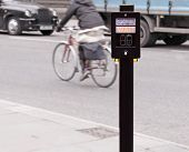 picture of pedestrian crossing  - Pedestrian crossing traffic sign with push button - JPG