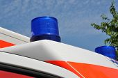 Flashing Blue Light On An Ambulance Car