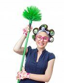 image of housekeeper  - Woman with brush - JPG