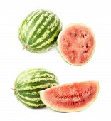 picture of watermelon slices  - Composition of a whole watermelon fruit next to a slice - JPG