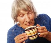 foto of old lady  - Happy old lady with coffee - JPG